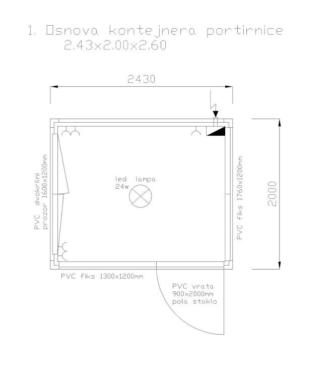 Kontejner portirnica 2.43x2.00x2.60m